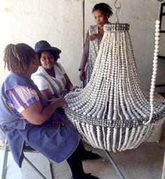 Ladies making chandies for Restoration Hardware!