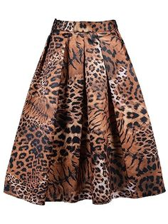 Jupe Imprimée Tigre Taille Haute Avec Détail Plissé