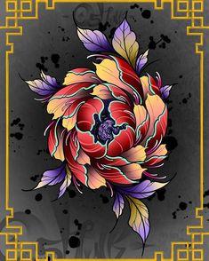 Japanese Peony Tattoo, Japanese Tattoo Designs, Japanese Flowers, Japanese Art, Lotus Tattoo Design, Floral Tattoo Design, Flower Tattoo Designs, Flower Tattoos, Peony Drawing