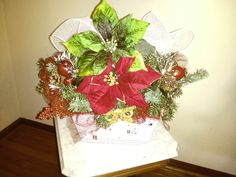 Red and Green Poinsettia Basket