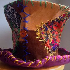 Great handmade burning man patchwork hat.I'm thinking of making one from old scraps of upholstery samples.
