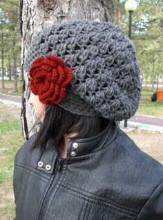 Crochet Hat  Slouch  Hat  Crochet Beanie Hat   Womens hat by Ebruk, $30.00