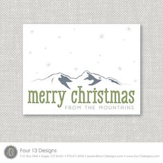 Digital Printable mountain Christmas Card by Four 13 Designs