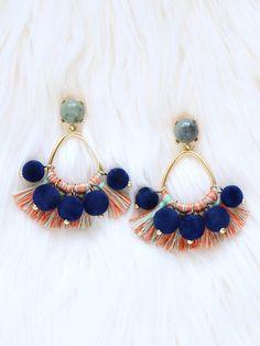 Pom pom earrings tassel earrings beaded tassel earrings