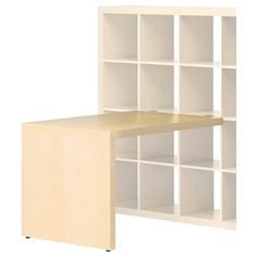 EXPEDIT Desk - birch effect - IKEA  Table space attached to wall nooks... what a good idea!
