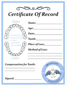 Tooth fairy certificate with tooth chart. Tooth Fairy Letter Template, Letter Templates, Tooth Fairy Certificate, Tooth Fairy Pillow, Certificate Templates, My Children, Future Children, Cute Kids, Kids Diy