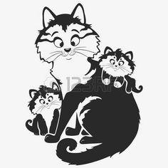 cat drawing: black and white illustration silhouette cute cat with kittens