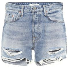 Grlfrnd Helena Distressed Denim Shorts ($180) ❤ liked on Polyvore featuring shorts, blue, distressed denim shorts and blue shorts
