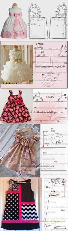 Little girl dress patterns Little Dresses, Little Girl Dresses, Girls Dresses, Sewing For Kids, Baby Sewing, Sewing Diy, Sewing Ideas, Fashion Kids, Sewing Clothes