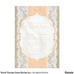 "Peach Vintage Linen Burlap Lace Wedding Invitation 5"" X 7"" Invitation Card"