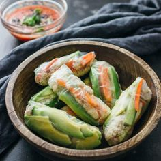 Bite into these crab and avocado summer rolls! This Vietnamese and Thai inspired recipe has crab, avocado, cucumber, and carrots wrapped together in a roll. Crab Recipes, Asian Recipes, Appetizer Recipes, Dinner Recipes, Healthy Recipes, Keto Recipes, Dinner Ideas, Recipies, Shrimp Spring Rolls