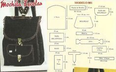 Healthy Addiction: Bags and purses in leather and crochet Sewing Hacks, Sewing Crafts, Sewing Projects, Bag Patterns To Sew, Sewing Patterns, Backpack Pattern, Diy Handbag, Leather Pattern, Fabric Bags