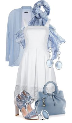 """white and blue"" by sagramora ❤ liked on Polyvore"