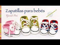 Zapatillas o sneakers para bebés tejidas a crochet... 2 tallas! - YouTube