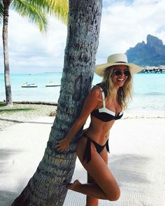 Natasha Oakley wearing Monday Swimwear bikini at Bora Bora. #bikini #borabora…