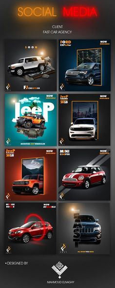 car design social media car agency on Behance Social Media Branding, Social Media Art, Social Media Poster, Social Media Banner, Social Media Design, Social Media Template, Social Media Graphics, Social Media Marketing Agency, Marketing Digital