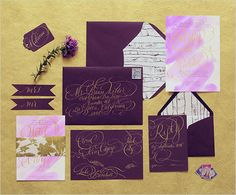 paper suite by moira design studio http://www.weddingchicks.com/2013/12/12/gold-and-purple-wedding-ideas/