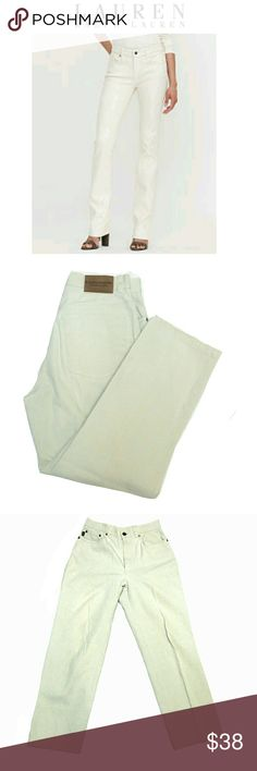 """LAUREN RALPH LAUREN  CREAM COLOR  JEANS LAUREN RALPH LAUREN CREAM COLOR  JEANS Pre-Loved  / EUC / Pic for Similarity  RN # 54050  CA 08349 SZ 4 95% Cotton  5% Spandex 5 Pocket, Front Fly Zipper Closure. The Length is Approx 26"""" so These May Be Ankle Jeans Approx Meas;    *   Waist   14""""    *   Inseam   26""""    *   Rise   10 1/2""""    *   Leg Opening   7 1/2"""" Pls See All Pics. Ask ? If Not Sure Lauren Ralph Lauren Jeans"""