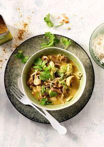 Thai Green Curry met rundvlees en kokosmelk