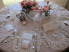 doilies as placemats - would be beautiful with clear glassware !