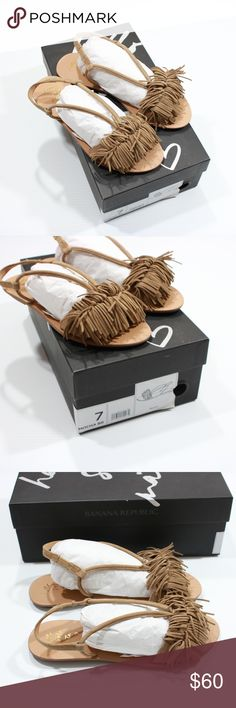 Banana Republic Fringes Leather Sandals Mocha New with Box. Style Name: Riley Color: Mocha Brown Size: 7 Banana Republic Shoes Sandals