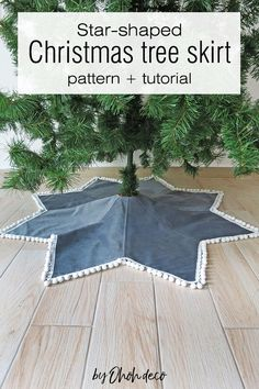 Complete your Christmas decor with a unique star-shaped tree skirt. Get the tree skirt pattern and have fun trying this easy sewing project. #sew #tutorial #Christmas