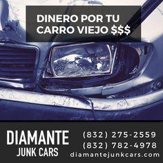 Quien compra autos junk en Houston, Texas? Nosotros DiamanteJunkCars.com Houston, Lunch Box, Texas, Shopping, Cars, Bento Box