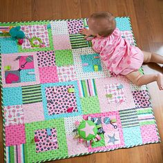 Add fun and fuction to a stroller-size quilt by sewing ribbon and ...