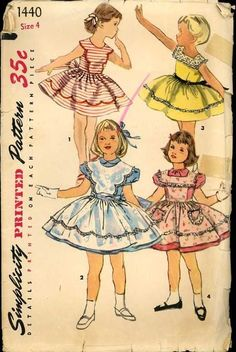 1950s Simplicity 1440 Pattern Girls Full Skirt Sundress & Pinafore ExC size 4 #GirlsDresses #VintagePatterns #1950sFashions