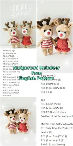 Amigurumi reindeer free crochet pattern, This article is waiting for you. We always keep you up to date with the most current amigurumi toy patterns. Crochet Amigurumi Free Patterns, Christmas Crochet Patterns, Crochet Animal Patterns, Crochet Doll Pattern, Stuffed Animal Patterns, Crochet Dolls, Crochet Christmas, Tutorial Crochet, Bunny Crochet