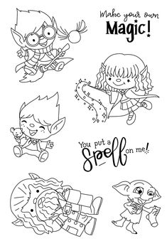 Look what I found on AliExpress Carte Harry Potter, Harry Potter Cards, Easy Doodles Drawings, Simple Doodles, Digi Stamps Free, Digital Stamps, Diy Photo, Colouring Pages, Coloring Books