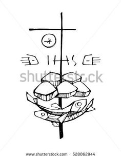 Hand drawn vector illustration or drawing of the religious symbols of five breads, two fishes and a Cross