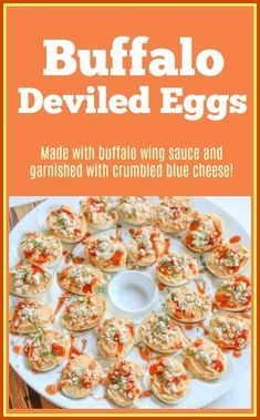 This Buffalo Deviled Eggs Recipe is a fun and delicious spin on traditional deviled eggs. They are made with buffalo wing sauce and garnished with crumbled blue cheese. They make the perfect party appetizer. Blue Cheese Recipes, Egg Recipes, Real Food Recipes, Cooking Recipes, Healthy Recipes, Diabetic Recipes, Vegetarian Recipes, Beef Appetizers, Best Appetizer Recipes