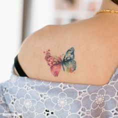 Watercolor Butterfly Tattoo by tatuyiseuteu River.  Watercolor tattoos.  butterfly.  Tattoo.  Two calligraphy.  Per tattoos