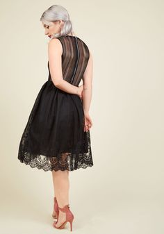 Fan Flair Lace Dress. Your entrances in this black dress are so splendid, youre about to amass your own following as a result! #black #modcloth