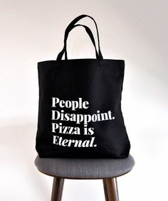 Pizza is eternal black cotton blend tote bag. By Swell Made Co. Made in Canada. Large Bags, Small Bags, Disappointment In People, Tote Bags For College, Cotton Tote Bags, Reusable Tote Bags, Medium Sized Bags, Shop Till You Drop, Recycle Plastic Bottles