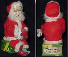 Vintage Christmas Colletible ~ Santa Claus Wind-Up Shines Shoes from Esquire Shoe Polish. Wind him up and he polishes his boot. Circa, 1950's. (You can see him in action here. http://collectibles.about.com/library/media/video/santa.mpg )
