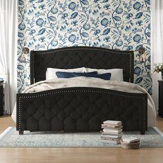 Blue Headboard, Wingback Headboard, Upholstered Bed Frame, Upholstered Platform Bed, Blue Bedding, Headboard And Footboard, Blue Bedroom, Bedroom Decor, Master Bedroom