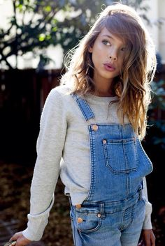 We're taking inspiration from Laneya Grace and wearing dungarees and sweatshirts. #newlook
