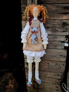 Купить Кукла тильда Мила и Атилла - голубой, кофейный, тильда, тильда кукла, тильда ангел ♡