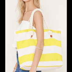 Host Pick Yellow striped tote New yellow and white striped tote NWOT Bags Totes