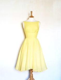 Size UK 10  Lemon Yellow Crepe Dress  Made by Dig by digforvictory