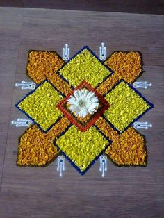 Flower Rangoli For Diwali Flower Rangoli Images, Simple Flower Rangoli, Rangoli Designs Flower, Small Rangoli Design, Colorful Rangoli Designs, Rangoli Ideas, Rangoli Designs Images, Rangoli Designs Diwali, Diwali Rangoli