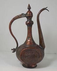 Antique Vintage  Copper Tea Pot