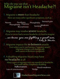 Why do you say that Migraine isn't a Headache, you ask? Because it is a combination of symptoms, is neurological versus muscular, and has several phases Seizonsha, Founder of Migraineur Misfits. Help us help others! http://MigraEase.com #migraine #headache #cluster #natural