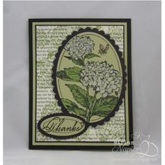 Serendipity Stamps Blog - DT Member Miriam Napier used Serendipity Stamps Hydrangea and Everyday Large rubber stamps to make her card.