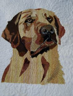 Labrador....Pet portrait art quilt by Helen Dickson. https://www.pinterest.com/smudgersworld/my-stuff/