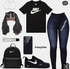 Swag Outfits For Girls, Cute Outfits For School, Teenage Girl Outfits, Cute Swag Outfits, Cute Comfy Outfits, Teen Fashion Outfits, Dope Outfits, Stylish Outfits, Trendy Dresses