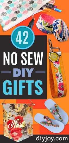No Sew Gifts - Easy DIY Gift Ideas That Require No Sewing - Quick Ideas for Homemade Presents for Her, Him, Friends - Quick No Sew DIY Christmas Gifts via @diyjoycrafts Crafts To Make And Sell, Easy Diy Crafts, Diy Crafts For Kids, Sell Diy, Kids Diy, Decor Crafts, Diy Sewing Projects, Sewing Crafts, No Sew Crafts