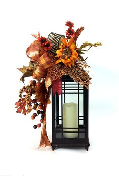 Fall Lantern Swag w Glittered Pumpkin Beaded Sunflower Glittered Fall Leaf and berries -Thanksgiving Table -Fall Kitchen -Mantle Decor by SouthernCharmWreaths $49.00 USD